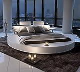 SAM Polsterbett in weiß, Rundbett mit gepolstertem Kopfteil, Beleuchtung und Zwei Nachttischablagen, Bettgestell auch als Wasserbett verwendbar, 180 x 200 cm [521477]