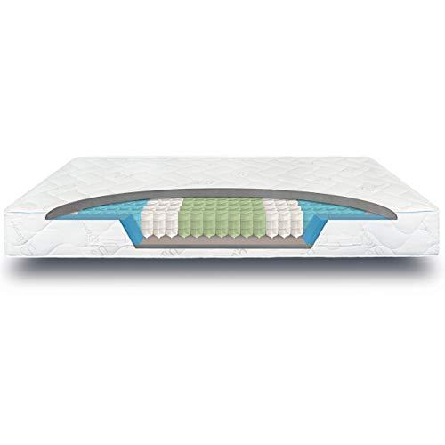 verapur Ortho Plus Taschenfederkernmatratze 100 x 220 cm H3, 7-Zonen Matratze, Tonnentaschenfederkernmatratze, waschbarer Bezug, Öko-Tex, 23 cm hoch