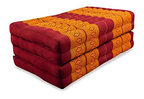 livasia Klappmatratze aus Kapok, Faltbare Gästematratze, klappbare Matratze, asiatische Faltmatratze (rot/gelb)