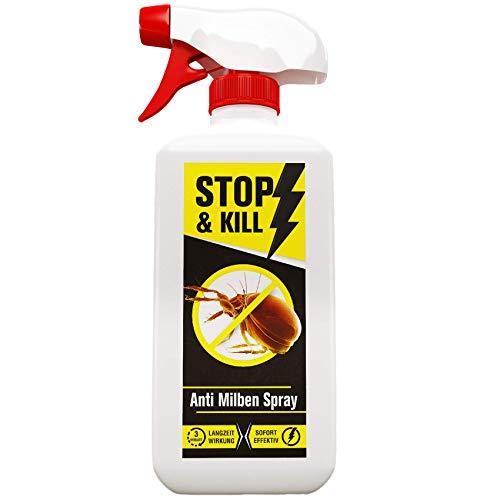STOP & KILL Anti Milben Spray 500 ml | Abwehr für Bett/Matratzen/Polster/alle Textilien | Sofort- & Langzeitschutz gegen Hausstaubmilben |Ergänzung zur Milbenbezug | Geruchlos & Auf Wasserbasis