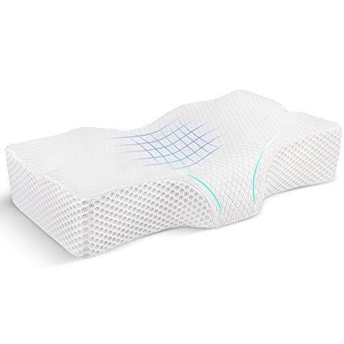 Zorara Memory Foam Kissen, Orthopädisches Nackenstützkissen Kopfkissen für HWS aus viscoelastischem Gelschaum, Ergonomisches Nackenstützkissen Schlafkissen für Seitenschläfer Rückenschläfer