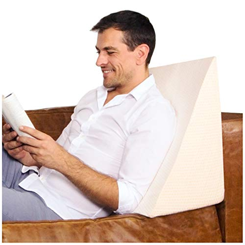 Vettler Keilkissen für Bett und Couch – Ideal als Lesekissen, Rückenlehne im Bett oder zum Füße hochlagern – Formstabiler Schaumstoff – Bezug waschbar