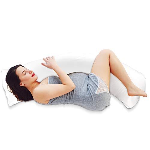 Seitenschläferkissen mit Bezug (Oeko TEX) - Schwangerschaftskissen - Körperkissen & Lagerungskissen Erwachsene - Langes Kissen & Seitenschläfer Kissen