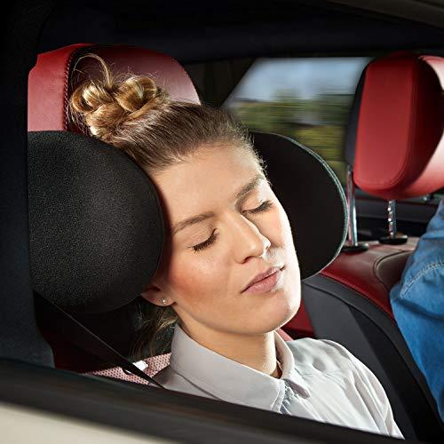 Cartrend 73108 Komfort Auto-Kopfstütze klappbar, verstellbar, inkl. Nackenrolle