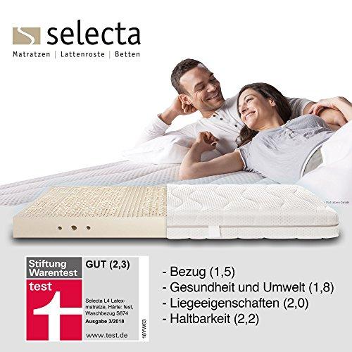 Selecta L4 Latexmatratze, Stiftung WarentestTestsiegermatratze 3/2018, medium H2, 90x200 cm, Rundum Waschbezug S874