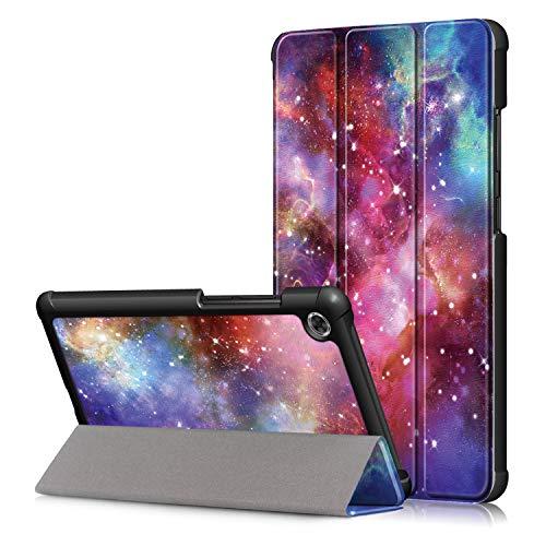 Shinyzone Tablet Hülle Kompatibel mit Lenovo Tab M7 7 Zoll TB-7305F,Leder Trifold Ständer Schutzhülle mit Auto Aufwachen/Schlaf,Magnetisch Befestigung mit Kantenschutz,Galaxy