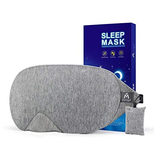Mavogel Schlafmaske aus Baumwolle – aktualisiertes Design, lichtblockierende Schlafmaske, weich und bequem, Schlafbrille für Herren und Damen, für unterwegs, Schichtarbeit, inklusive Reisetasche