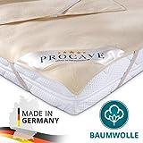 PROCAVE Matratzen-Auflage aus 100% Baumwolle, Natur-Matratzenschoner atmungsaktiv, hochwertige Moltonauflage als Matratzenschutz, Premium Qualität Made in Germany 180x210 cm