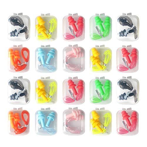 LuLyL 20 Paar Gehörschutz-Ohrstöpsel aus wiederverwendbarem Silikon bieten wasserdichten und weichen Gehörschutz für Schlaf und Flugzeuge.