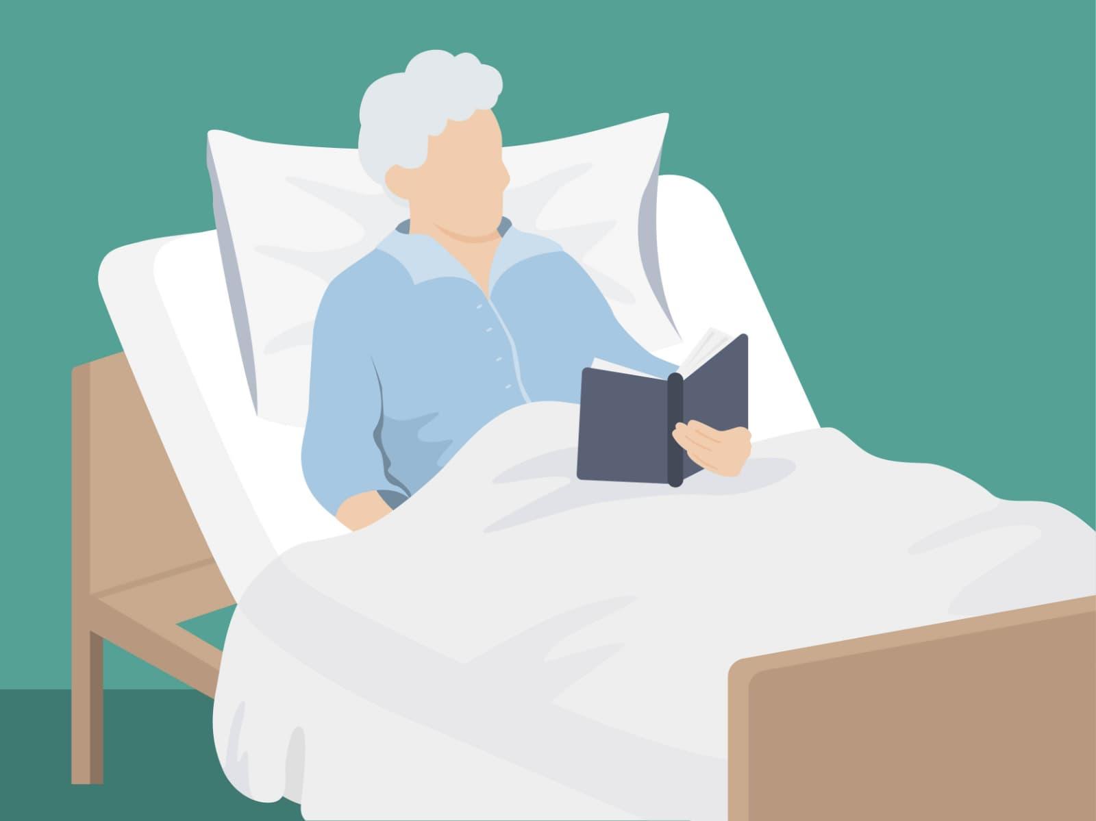 Seniorenbetten: Sie sind etwas höher als normale Betten und erleichtern so das Ein- und Aussteigen.