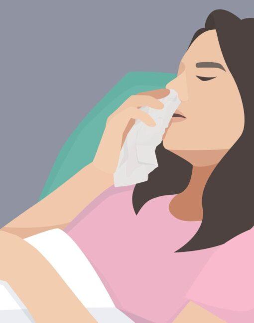 Verstopfte Nase: Sie kann aufgrund von Allergien oder einer chronischen Nasennebenhöhlenentzündung auftreten.